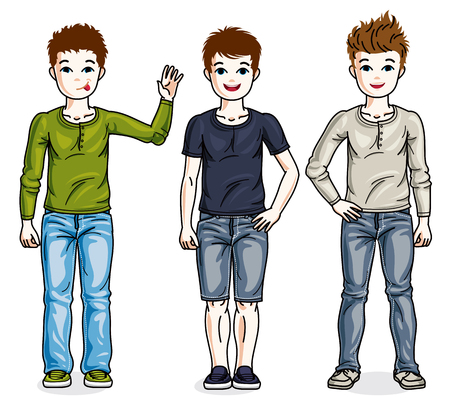Child young teen boys group standing wearing different casual clothes. Vector diversity kids illustrations set. Illusztráció
