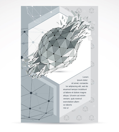 Computer technologies creative advertisement brochure. Vector abstract black and white 3d mesh broken object, design element technology low poly template with broken refractions.
