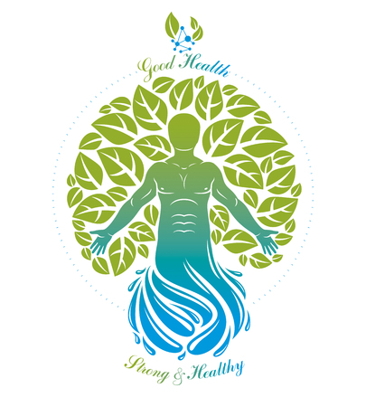 Vector graphic illustration of muscular human deriving from water wave and composed with green eco tree, self. Vegan concept.