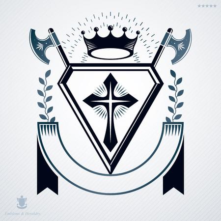 Vintage heraldry design template, vector emblem.