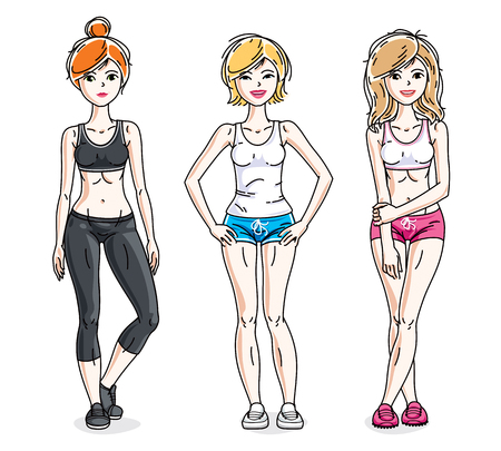 Attractive young women standing in stylish sportswear. Vector people illustrations set. Lifestyle theme fem characters.