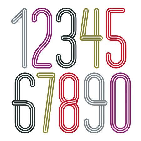 Vector trendy numbers collection. Retro condensed numerals from to 9 best for use in poster creation. Made with geometric parallel triple lines. Vecteurs