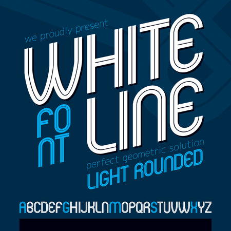 Vector upper case rounded alphabet letters made with white lines, best for use in   design in telecommunication theme