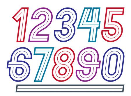 Ensemble de nombres en gras rétro lumineux de vecteur de à 9 meilleurs pour une utilisation dans la conception. Vecteurs