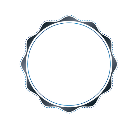 Luxury round frame with empty copy-space, classic heraldic blank circular shape created with undulate stripes and curves. Retro style label, decorative mirror border.