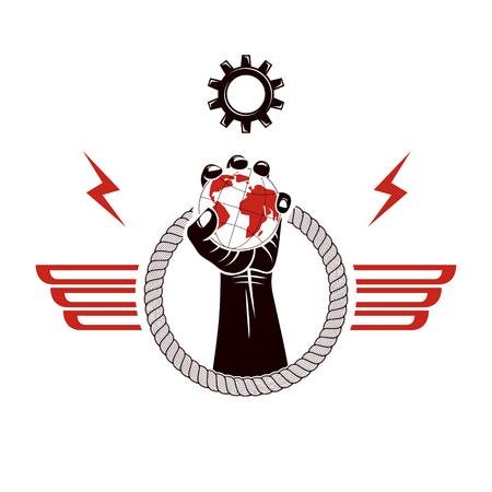 Emblema de vector alado compuesto con puño cerrado levantado compuesto con ilustración de tierra y rueda dentada. Sin concepto de límites y restricciones.