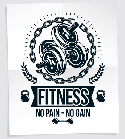 Fitness club vector advertising poster composed using disc weight dumb-bell and kettle bell sport equipment. No pain no gain writing.