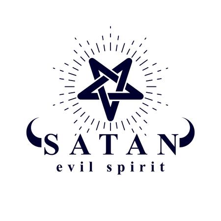 Vector pagan symbol, pentacle created with Satan inscription. Demonic infernal illustration.