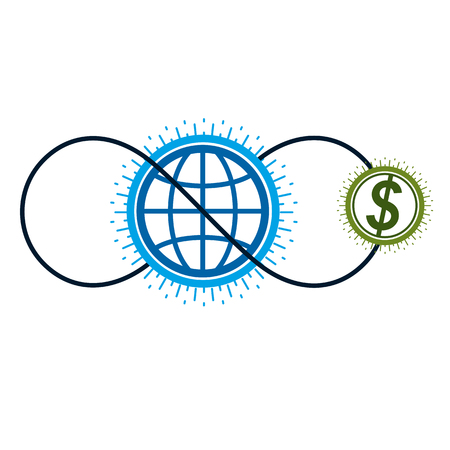 Global Cooperation and Business conceptual icon, unique symbol created with different elements. Global Financial System. World Economy. Illustration