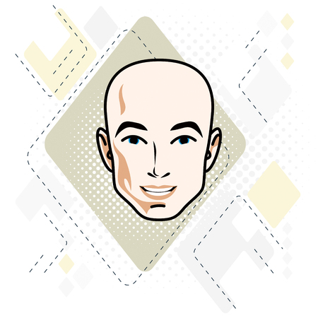 Vector illustration of handsome male face, positive face features of hairless man, clipart.