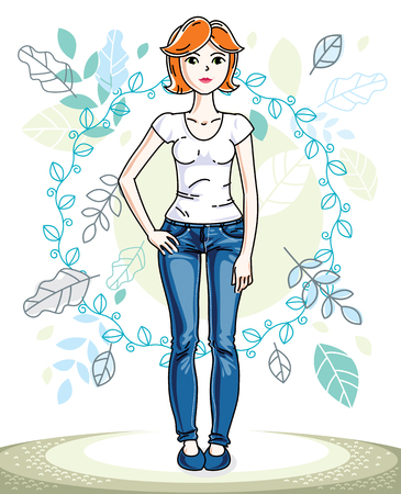 Attractive young red-haired woman standing on background of spring landscape and wearing stylish casual clothes. Vector human illustration. Illustration