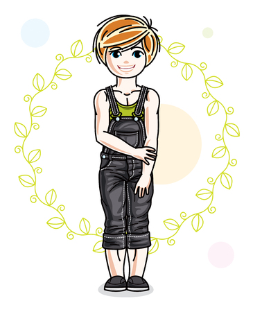 Little red-haired cute girl standing on spring eco background with leaves. Illustration of vector attractive kid wearing casual clothes.  イラスト・ベクター素材