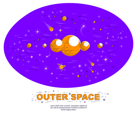 Fantastic undiscovered galaxy with unknown planets, science fiction, with stars, comets, asteroids and other elements. Explore universe, breathtaking space science. Thin line 3d vector illustration. Illustration