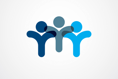 Teamwork businessman unity and cooperation concept created with simple geometric elements as a people crew.  Friendship dream team, united crew blue design.