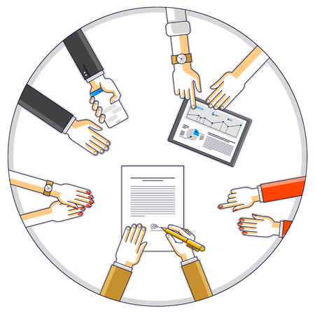 Businessman signs a document while team of business people presenting and explaining to him their analytics and plan, credit loan for startup investor, top view of people hands. Vector illustration.