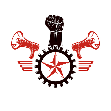 Raised clenched fists vector illustration composed with loudspeakers equipment and engineering cog wheel. Propaganda as the means of manipulation and control