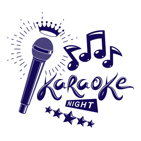 Karaoke night and nightclub discotheque vector invitation leaflet created with stage microphone with royal crown and musical notes.