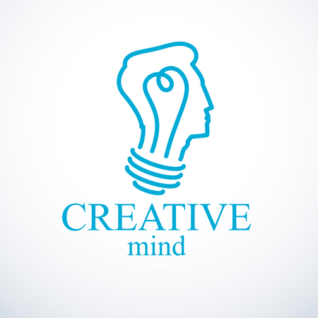 Creative brain concept, intelligent person icon. Light bulb in a shape of man head profile. Bright mind, thinking and brainstorming idea icon. Stock Illustratie