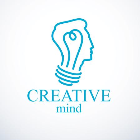 Kreatives Gehirnkonzept, intelligentes Personenikone. Glühbirne in Form eines Mannkopfprofils. Helle Gedanken-, Denk- und Brainstorming-Ideenikone. Vektorgrafik