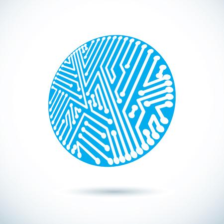 Vector technology cpu design with circular microprocessor scheme. Computer circuit board, digital element.
