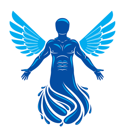Vector illustration of human being deriving from water and composed with bird wings. Human and nature coexistence, freedom and liberty idea. 일러스트