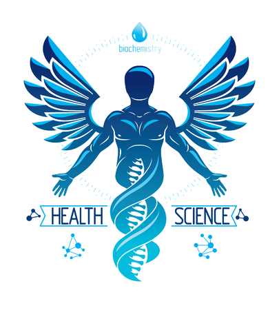 Vector graphic illustration of strong male depicted as DNA symbol continuation and created with wireframe connections and bird wings. Biomedical engineering concept. 矢量图片