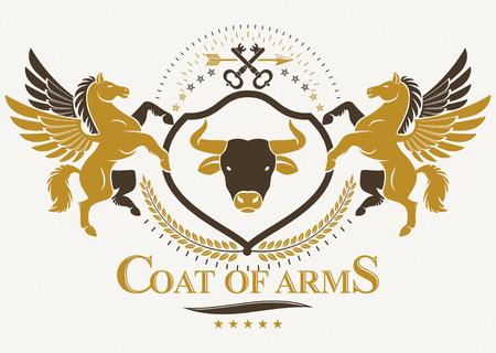Blason héraldique, emblème de vecteur vintage composé à l'aide de gracieux Pegasus et illustration de tête de taureau sauvage. Clés de protection.