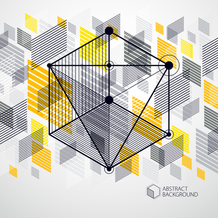 Vector of modern abstract cubic lattice lines yellow background. Layout of cubes, hexagons, squares, rectangles and different abstract elements. Abstract technical 3D background. Vectores