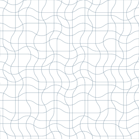 Black and white vector endless pattern created with thin undulate stripes, seamless netting composition. Continuous interlace texture can be used as website background and as wrapping paper.