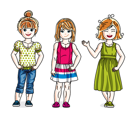 Different cute little girls standing in stylish casual clothes. Vector set of beautiful kids illustrations. Childhood and family lifestyle clip art. Illustration