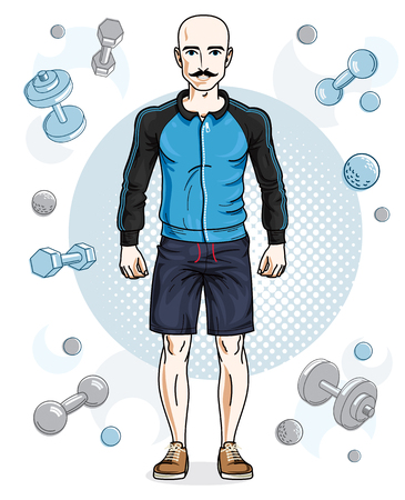 Happy bald young adult man with mustaches standing on simple background with dumbbells and barbells. Vector character, sport and fitness theme.