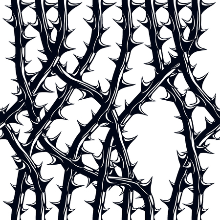 Horror style horrible seamless pattern, vector background. Blackthorn branches with thorns stylish endless illustration. Hard Rock and Heavy metal subculture music textile fashion stylish design. Ilustração Vetorial