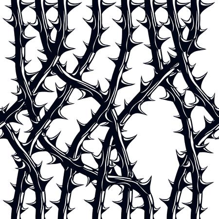 Schreckliches nahtloses Muster der Horrorart, Vektorhintergrund. Blackthorn verzweigt sich mit stilvoller endloser Illustration der Dornen. Hard Rock und Heavy Metal Subkultur Musik Textil Mode stilvolles Design. Vektorgrafik