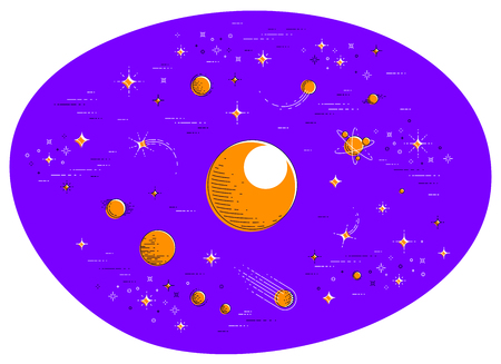 Fantastic galaxy with unknown weird undiscovered planets with stars, meteors, asteroids and other elements. Explore universe, breathtaking science fiction. Thin line 3d vector illustration isolated. 向量圖像