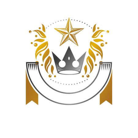 Royal Crown, Pentagonal Star emblem. Heraldic vector design element. Retro style label, heraldry icon. Stock Illustratie