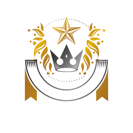 Royal Crown, Pentagonal Star emblem. Heraldic vector design element. Retro style label, heraldry icon. Ilustração