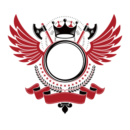 Graphic winged emblem created with ancient Crown and hatchets. Heraldic vector design element decorated with elegant ribbon. Retro style label, heraldry icon