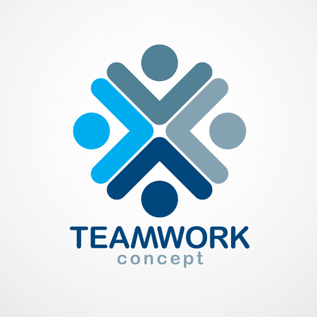 Teamwork and friendship concept created with simple geometric elements as a people crew. Vector icon. Unity and collaboration idea, dream team of business people blue design.