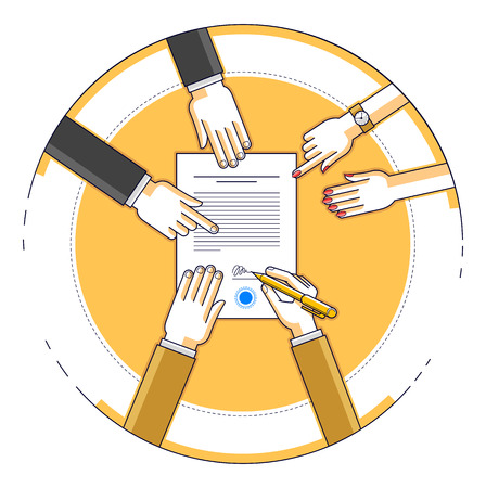Businessman signs bank financial form of money credit with employees helps him and explains the terms of loan, contract signing vector illustration, top view of desk with people hands. Ilustração