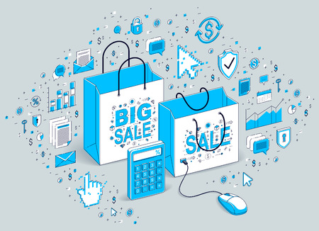 Online Shop concept, web store, internet sales, Shopping bag with pc mouse connected isolated on white. Isometric finance and business illustration with icons, stats charts and design elements.
