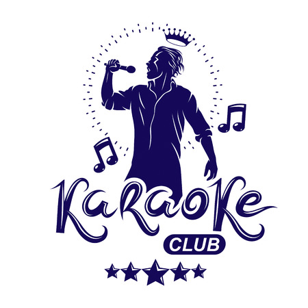 Karaoke club flyers vector cover design created using musical notes, stars and soloist singing to microphone. Emcee show advertising poster Illustration
