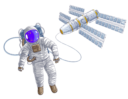 Astronaut went out into open space connected to space station, spaceman floating in weightlessness and spacecraft with solar panels behind him. Vector illustration isolated over white.