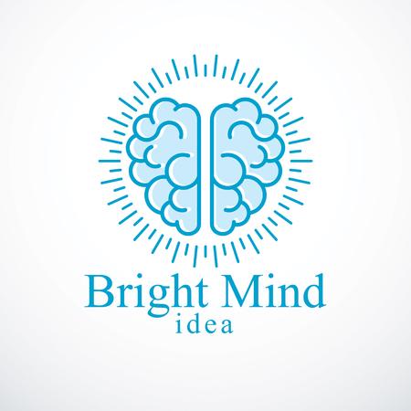 Bright Mind vector logo of pictogram met anatomische hersenen. Denken en brainstormen concept.