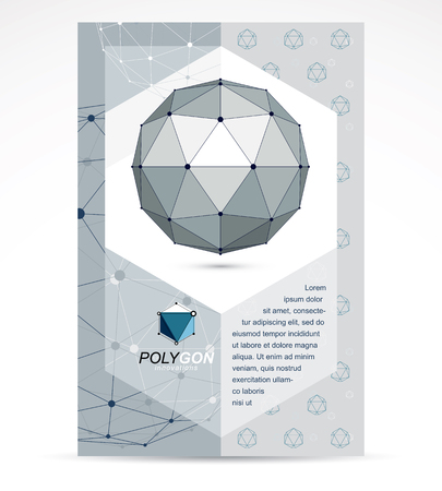 Computer engineering business modern marketing presentation poster. Abstract vector 3d geometric low poly monochrome object.