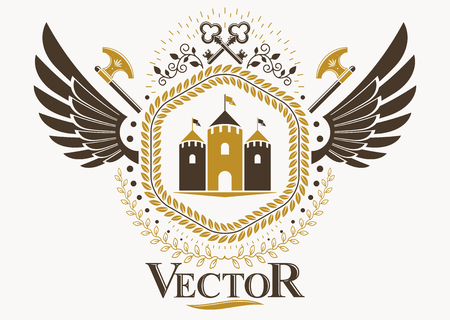 Vector illustration of old style heraldic emblem made with keys and medieval tower