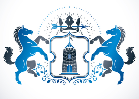 Vintage vector design element. Retro style label composed using horse illustration, monarch crown and medieval tower.