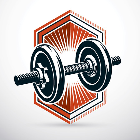 Dumbbell vector illustration isolated on white composed with disc weight. Sport equipment for weight lifting and cross fit training.