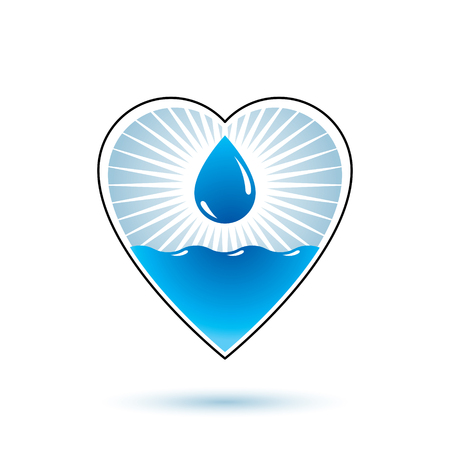 Pure water vector abstract logo for use as marketing design symbol. Environment protection concept.  イラスト・ベクター素材