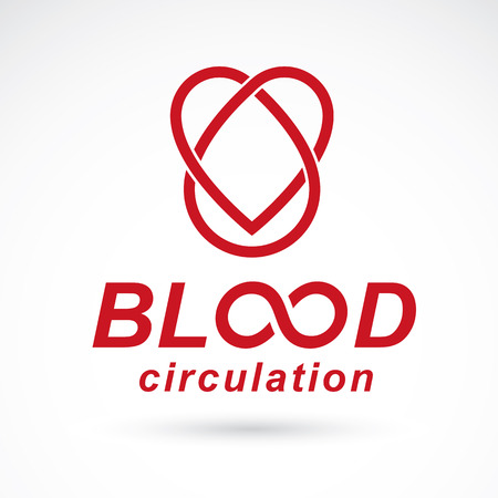 Vector illustration of heart shape. Blood circulation concept, charity and volunteer conceptual logo for use in medical care advertisement.