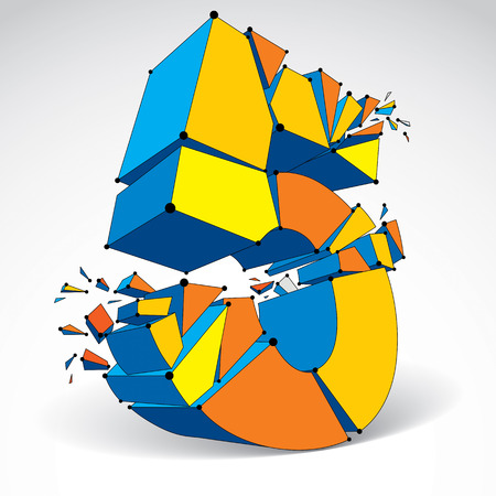 Abstract vector low poly wrecked number 5 with black lines and dots connected. 3d origami futuristic colorful font with lines mesh.